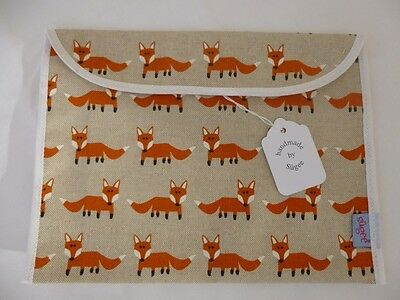 Handmade Baby Health Red Record Book Holder - 'Orange Foxes' Fully Lined - BNWT