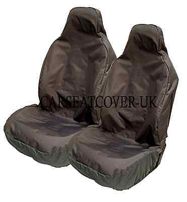 Car Seat Cover Heavy Duty Black Waterproof Front Pair Universal Fit Rubber Lined