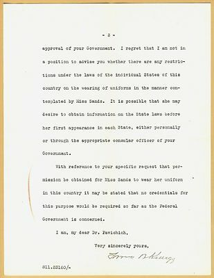 1927 Department Of State Washington Frank B. Kellogg typed letter signed