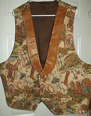 Handmade Men's Vintage Tapestry Vest Cowboy Horse Ranch Saddle Wheel Prints