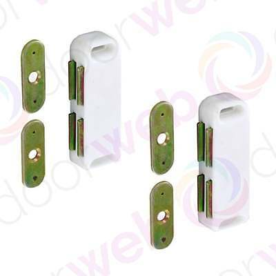 LARGE MAGNETIC DOOR CATCH 65mm Heavy Magnet Cupboard Cabinet WHITE 2 PACK