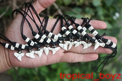 10 Shark Tooth Necklaces Sharks Teeth with Black Coconut Bone Beads Wholesale *