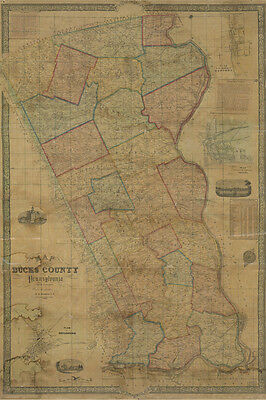 1850 Farm Line Map of Bucks County Pa from surveys colored
