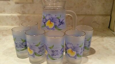 BRILLIANT Made in Indonesia Beautiful Pitcher and 6 Glasses Water Set Frosted