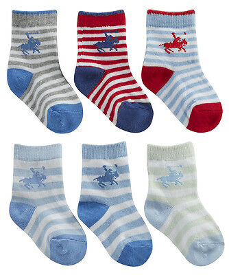 Newborn Infant Baby Boys Polo Equestrian Horse Socks Heel & Toe 3 Pairs New UK