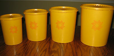 Vintage 8 piece Cannister Set Golden Yellow 1970's Great Condition