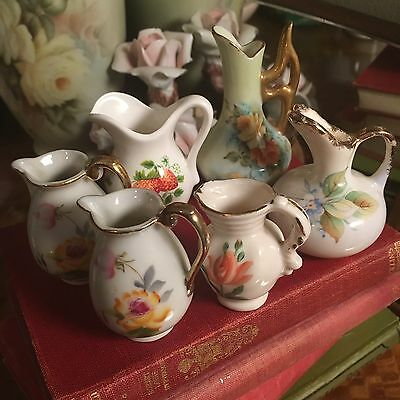 Lot Of 6 Pretty Little Miniature Porcelain Jugs Or Vases Hand Painted Flowers