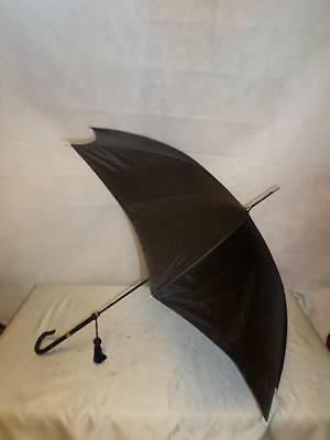 *VINTAGE LADIES BLACK PARASOL-PARAGON FOX-18CtGP COLLARS-SNAKE SKIN HANDLE*