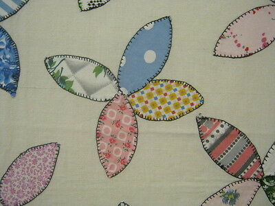 Quilt Top Summer Spread Hemmed Applique Flowers Hand Stitched