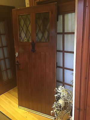Solid wood door with double glazed leaded antique windows
