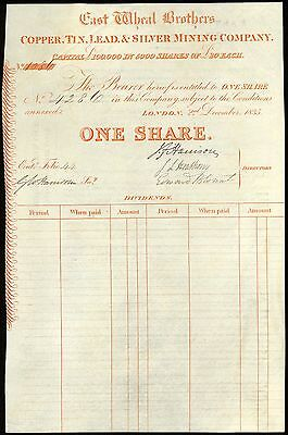 Cornwall: East Wheal Brothers Copper, Tin, Lead & Silver Mining Co., 1835, 1 sh