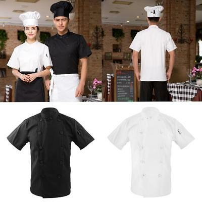 Double Breasted Short Sleeve Chef Jacket Coat Cook Hotel Uniform for Men Women