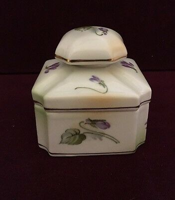 Vintage C.S. Prussia Porcelain Jewelry Trinket Box with Lavender Flowers
