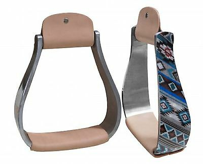 Holographic Navajo Print Aluminum Pair of Western Saddle Replacement Stirrups