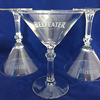 Beefeater Martini Glasses London Dry Gin Cut Stem Footed Drink Barware Lot of 3