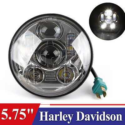 5-3/4 Motorcycle Chrome Projector Daymaker LED Light Bulb Headlight For Harley