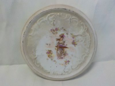 Vintage Hand Painted Porceline Trivets - Off White, Lady with Tray of Flowers