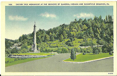 Vintage Old Postcard Unused Cherry Tree Monument Cambria Indiana Clearfield Pa