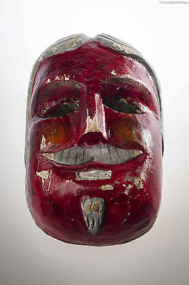 1950´s Vintage Mexican Dance Red Mask Hand Carved Wood Used Mexican Folk Art Vm1