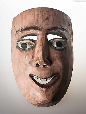 1980´s Vintage Mexican Dance Mask Hand Carved Wood Used Mexican Folk Art Smiling