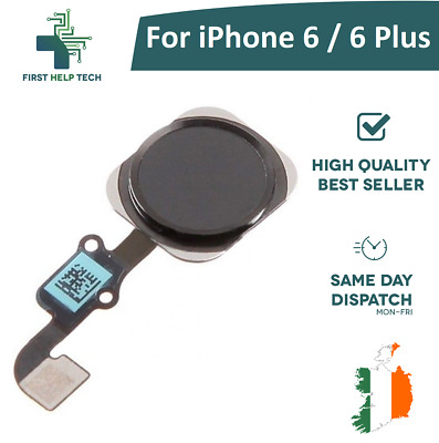 """Brand New Home Button Flex Cable Fingerprint Touch ID For iPhone 6 6G 4.7"""" BLACK"""
