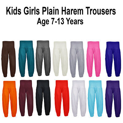 Girls Kids PLAIN Alibaba Harem Pant Trousers ALL COLOURS Age 7-13 YEARS