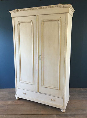 Vintage White Wardrobe French Armoire Hanging Shelves Pantry Cabinet Cupboard