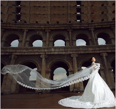 """Beautiful Ivory 1T 1 Tier Spanish 4"""" Lace Cathedral 105"""" Long Drop Wedding Veil"""