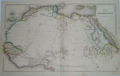 FINE LARGE DOUBLE-PAGE ANTIQUE BETTS ENGRAVED MAP OF NORTHERN AFRICA, c1850