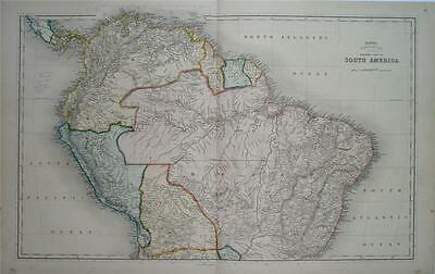 FINE LARGE DOUBLE-PAGE BETTS ANTIQUE ENGRAVED MAP OF SOUTH AMERICA, circa 1850
