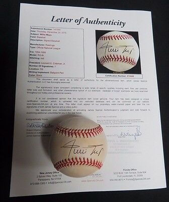 Willie Mays Single Signed ONL Baseball JSA COA Full Letter  HOF Giants Autograph