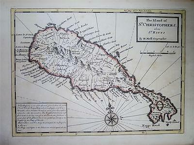 ANTIQUE c1736 MOLL MAP - ISLAND OF ST. CHRISTOPHERS alias ST. KITTS, WEST INDIES
