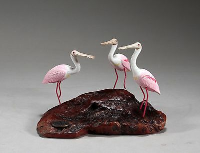 Trio of SPOONBILLS Sculpture New direct from JOHN PERRY 6in long Statue Figurine