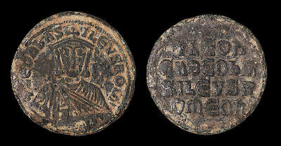 Leo VI the Wise  870 - 912 AD Bronze Follis Constantinople EXTREMELY FINE #b60