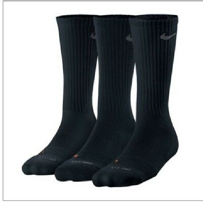 New 3 Pair Nike Crew Youth Socks Shoe Size 5Y-7Y Black Athletic Small Gift