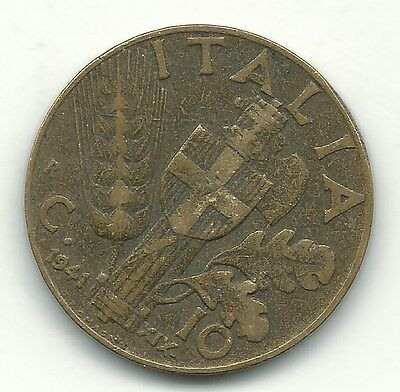 A Vintage Better Grade 1941 10 Centesimi Italy Coin-Jan057