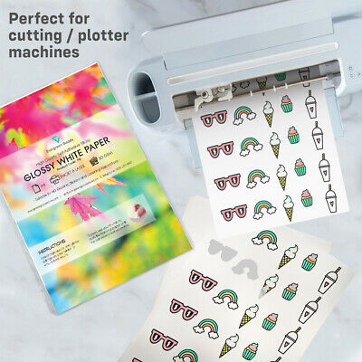 10x A4 Sticky Sticker GLOSSY Self-Adhesive Craft Paper Label Printing Silhouette