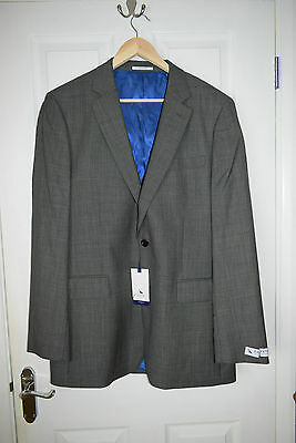 mens chester barrie suit jacket 44l BNWT grey/bla with blue lining wedding smart