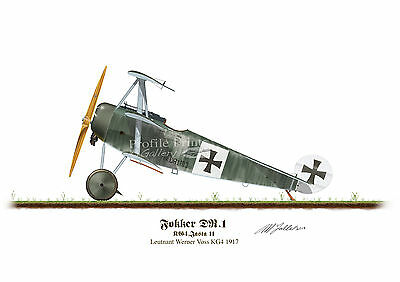 Fokker DR1 Werner Voss A5 Aircraft Profile Artwork Glossy Print WW1 signed