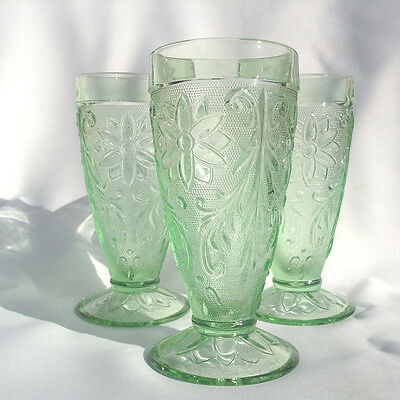 Set of 3 Green Chantilly Sandwich Pattern Glasses Vintage Indiana Glass by Tiara