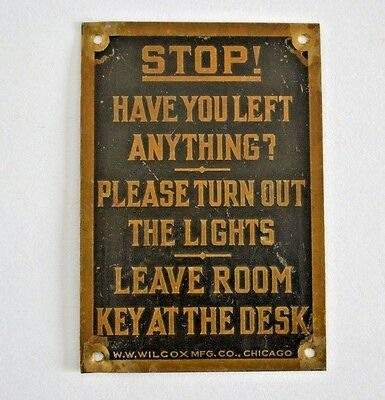 Vintage Hotel Motel Stop Sign Brass Plaque Room Key at Desk W.W. Wilcox Chicago