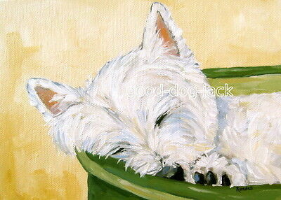 """West Highland Terrier ACEO WESTIE PRINT Painting """"MY BED"""" Dog Art RANDALL"""