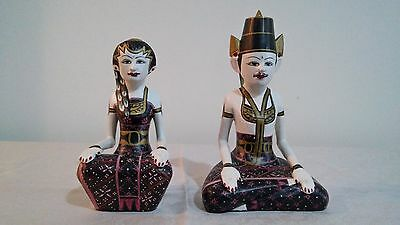 Pair of,  Hand Painted  Wooden Man & Woman Thai or Indonesia  Asian  Figure Doll