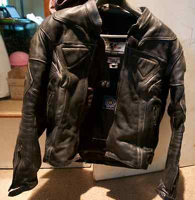 Motogp Black Leather Protective Shell Motorcycle Riding Jacket Men's Medium