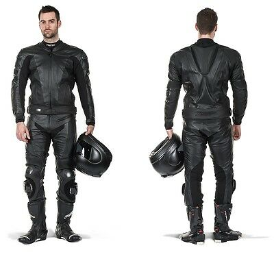 Full Black Motorbike Leather Suit Motorcycle Custom Made CE Armoured Any Size