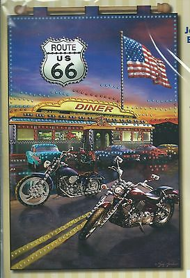 """Lets Stop At The Dinner On """"Route 66"""" - Jeweled Felt Banner Kit"""