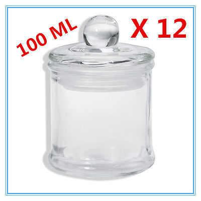 12 x Glass Apothecary Candy Jar with Lid for Candy Candle Waxing Mini 100ml FD