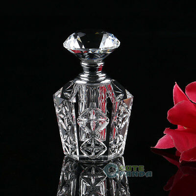 4ml Transparent Vintage Crystal Cut Perfume Bottle Diamond Stopper Refillable