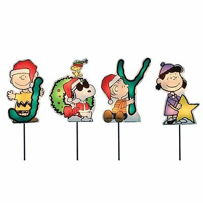 Peanuts Joy Christmas Pathway Markers (Set of 4) By ProductWorks 8-Inch Pre-Lit