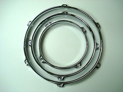 Lot of 3 Drum Rims Chrome  Hoops Tom 6 8 10 Triple Flange 3.0 mm Mint NEW